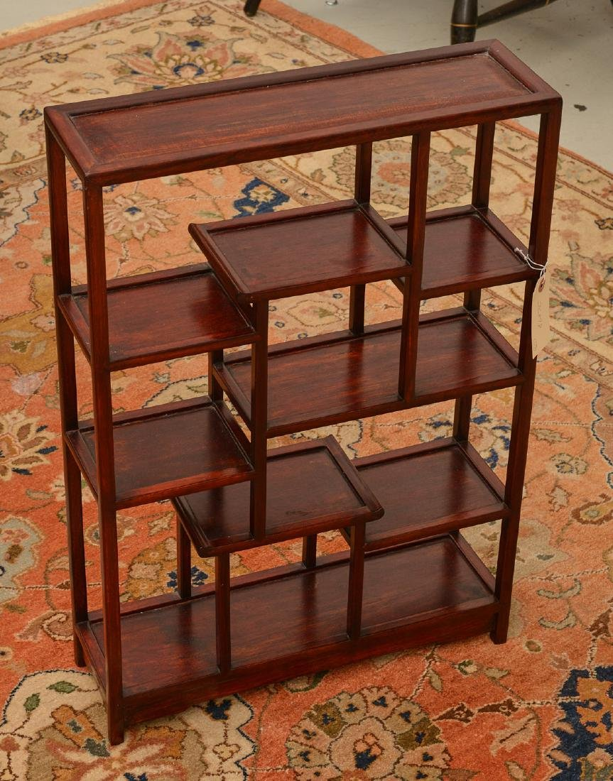 Chinese hardwood tabletop etagere