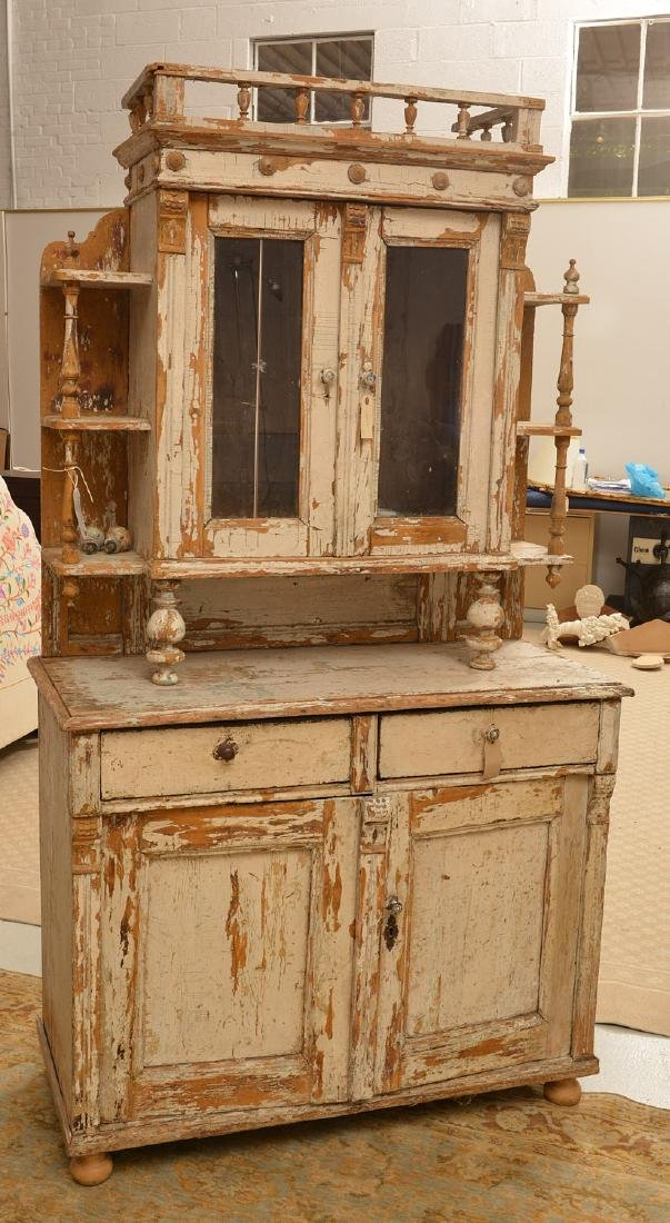 Antique painted Shabby Chic cottage cupboard