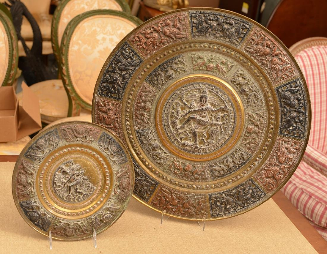 (2) Indian copper and silver relief brass chargers