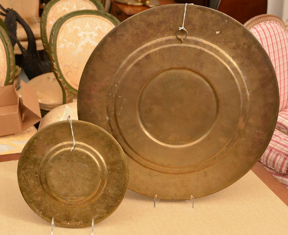 (2) Indian copper and silver relief brass chargers - 6