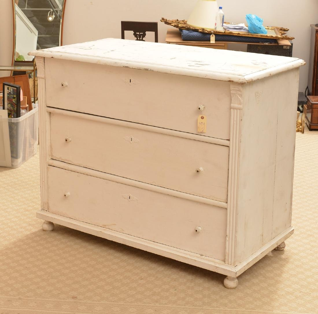Large white-painted Shabby Chic chest of drawers