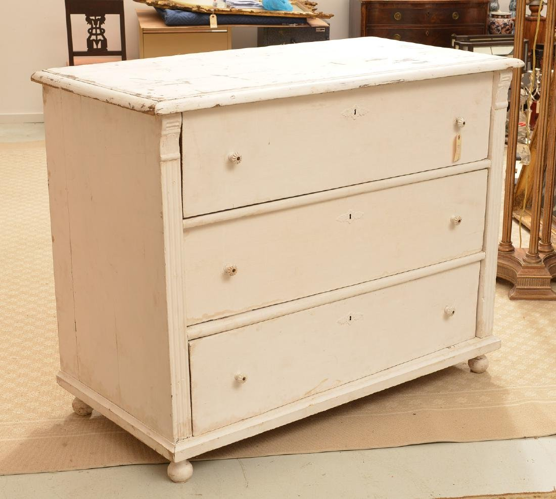 Large white-painted Shabby Chic chest of drawers - 2