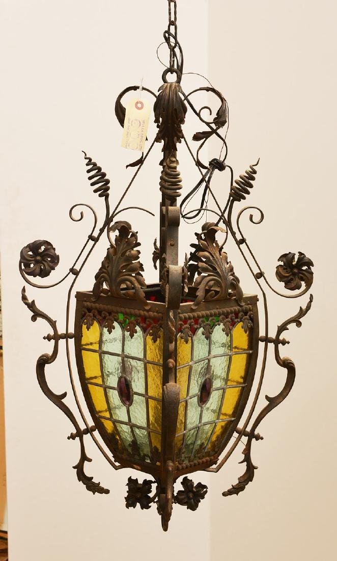 Leaded glass and wrought iron hanging fixture