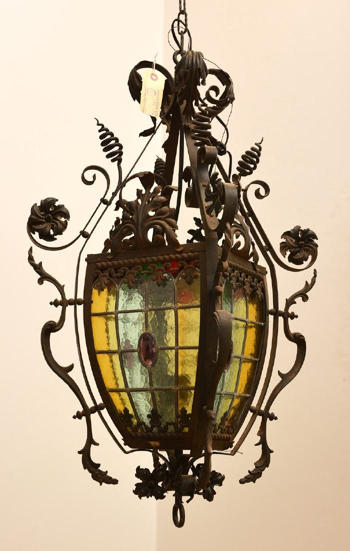 Leaded glass and wrought iron hanging fixture - 2