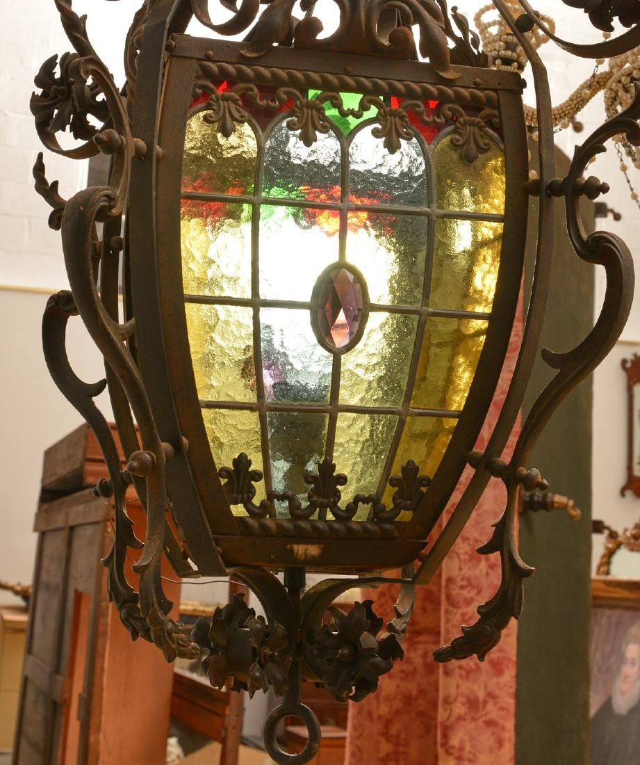 Leaded glass and wrought iron hanging fixture - 3