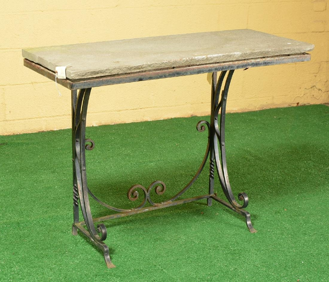 Vintage wrought iron and stone console table