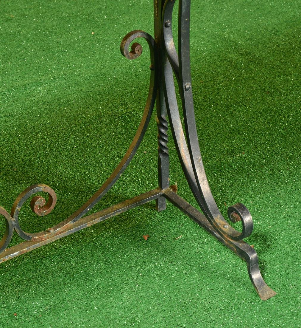 Vintage wrought iron and stone console table - 2