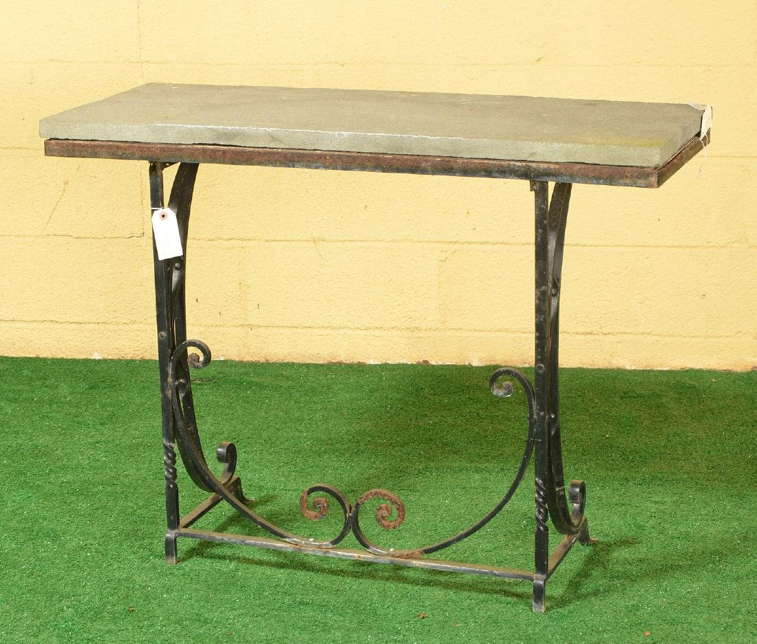 Vintage wrought iron and stone console table - 3