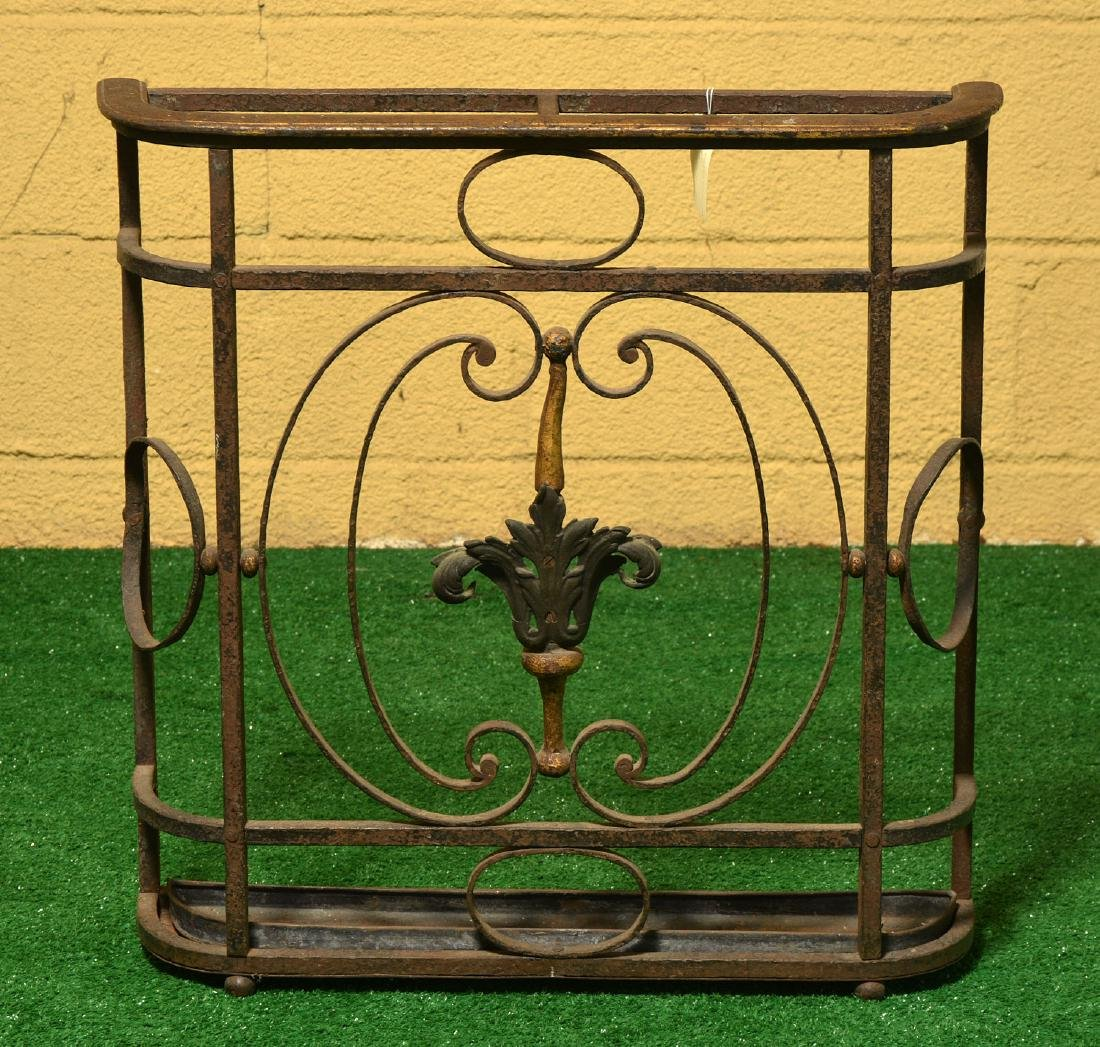 Oscar Bach style wrought iron umbrella stand - 2