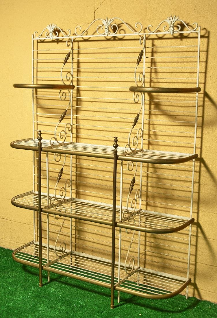 French brass and painted wrought iron baker's rack