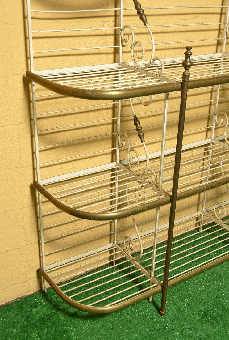 French brass and painted wrought iron baker's rack - 2