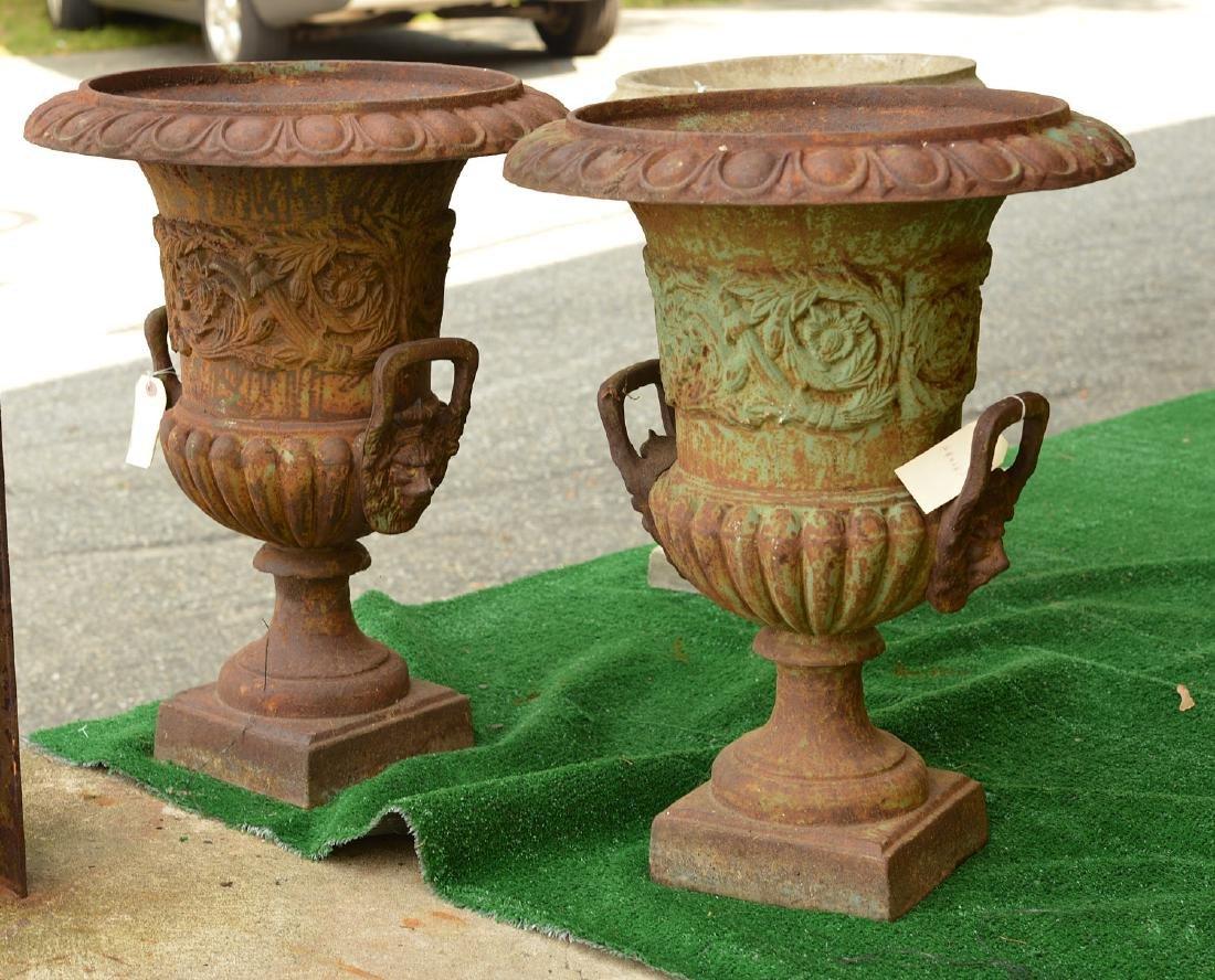 Pair cast iron campana form garden urns