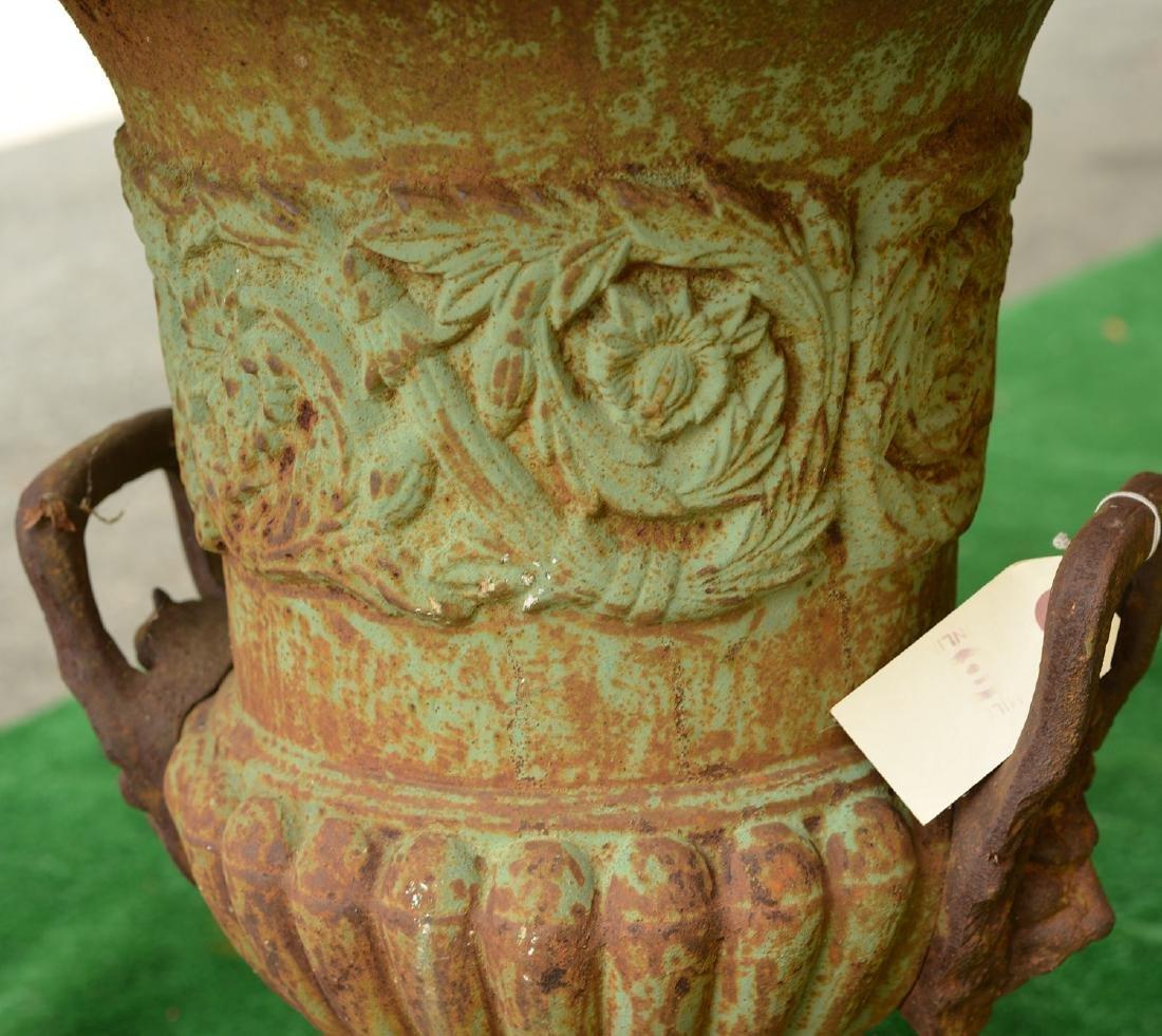 Pair cast iron campana form garden urns - 2
