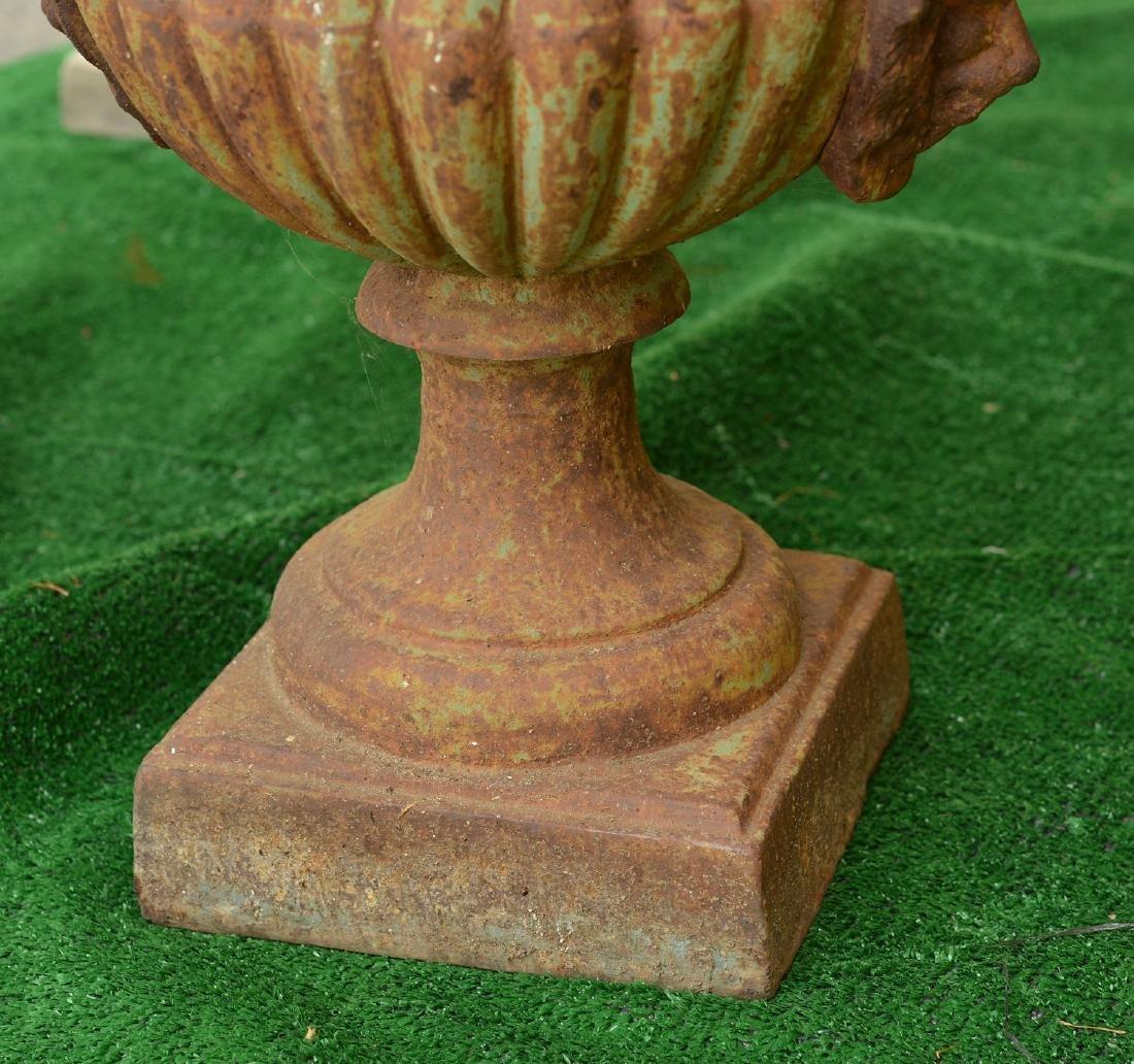 Pair cast iron campana form garden urns - 3