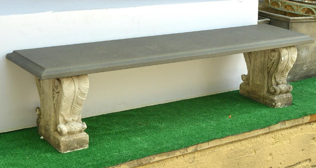 Cast stone and composite garden bench