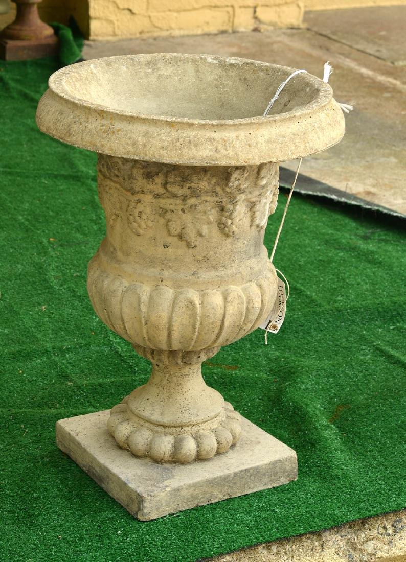 Cast stone campana form garden urn
