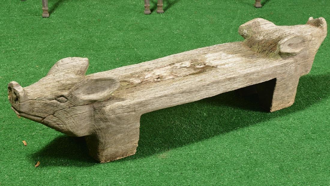 Folk Art carved wood pig bench