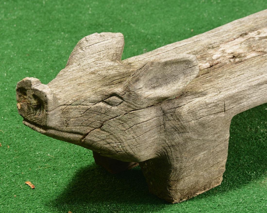 Folk Art carved wood pig bench - 2