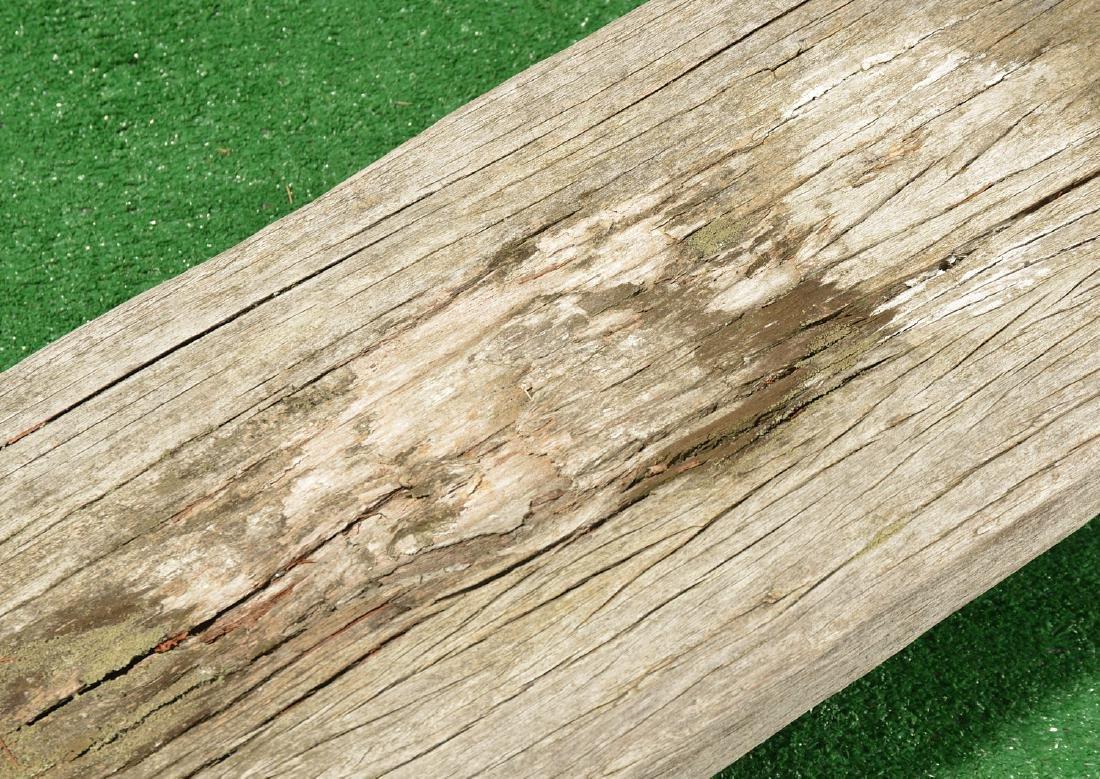 Folk Art carved wood pig bench - 3