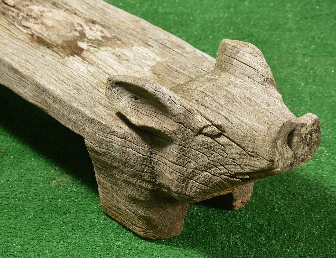 Folk Art carved wood pig bench - 4