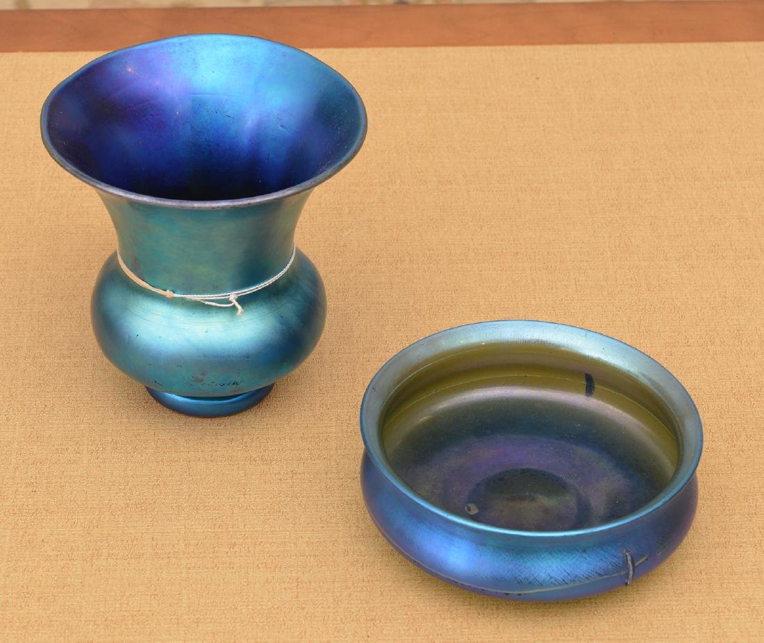 Steuben blue Aurene glass vase and bowl
