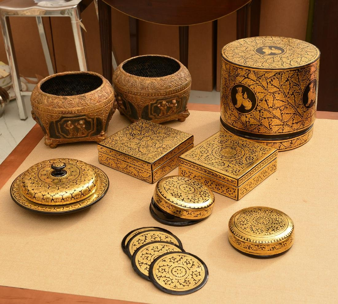 (8) Tibetan gilt and lacquered tablewares