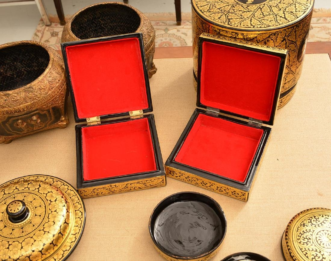 (8) Tibetan gilt and lacquered tablewares - 3
