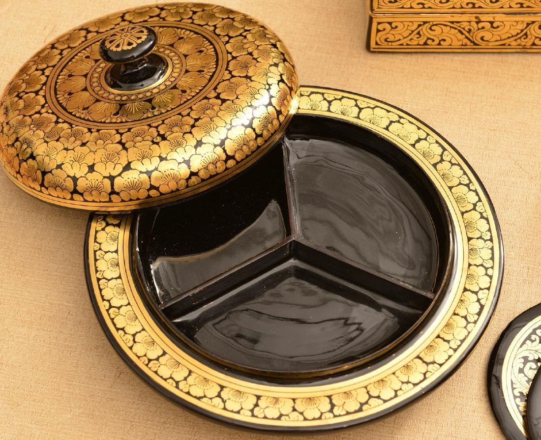 (8) Tibetan gilt and lacquered tablewares - 4