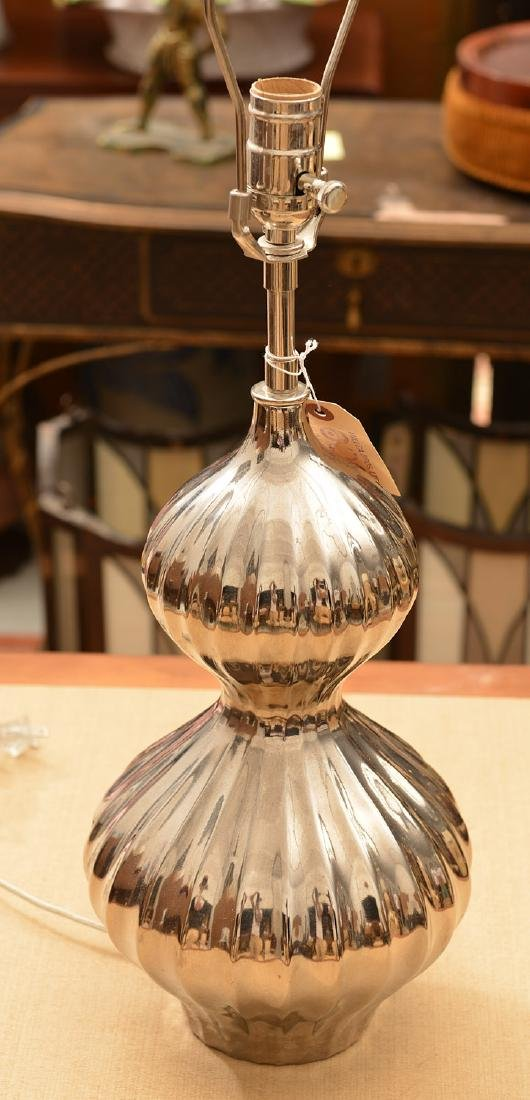 Modernist chromed double gourd table lamp