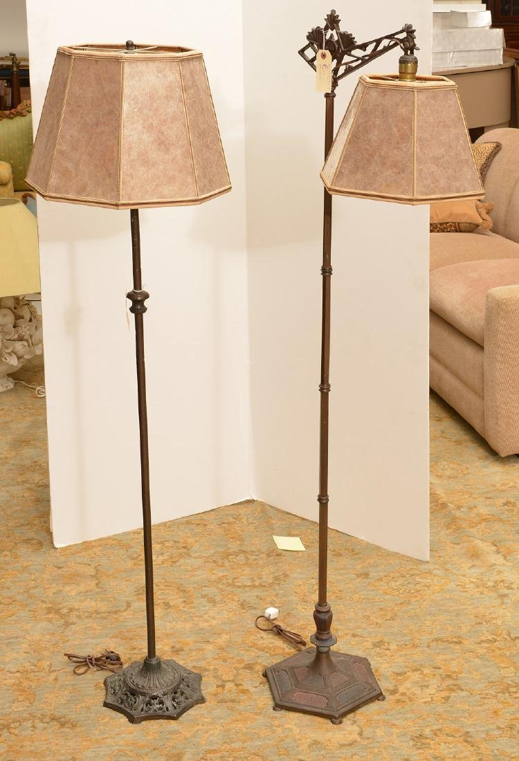 (2) cast iron floor lamps with mica shades