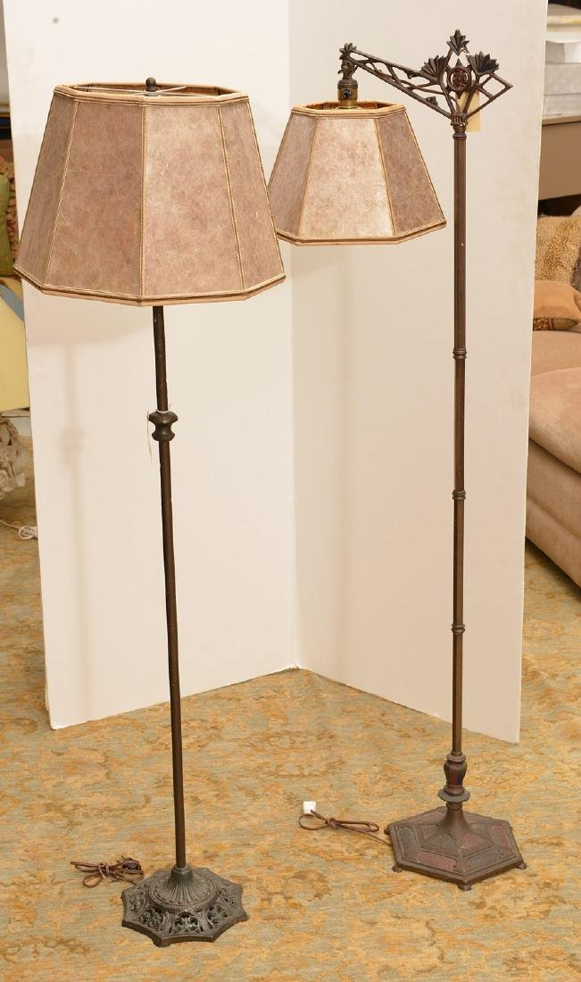 (2) cast iron floor lamps with mica shades - 2