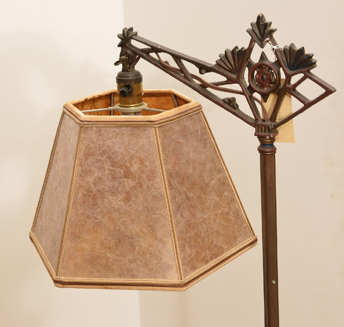 (2) cast iron floor lamps with mica shades - 3