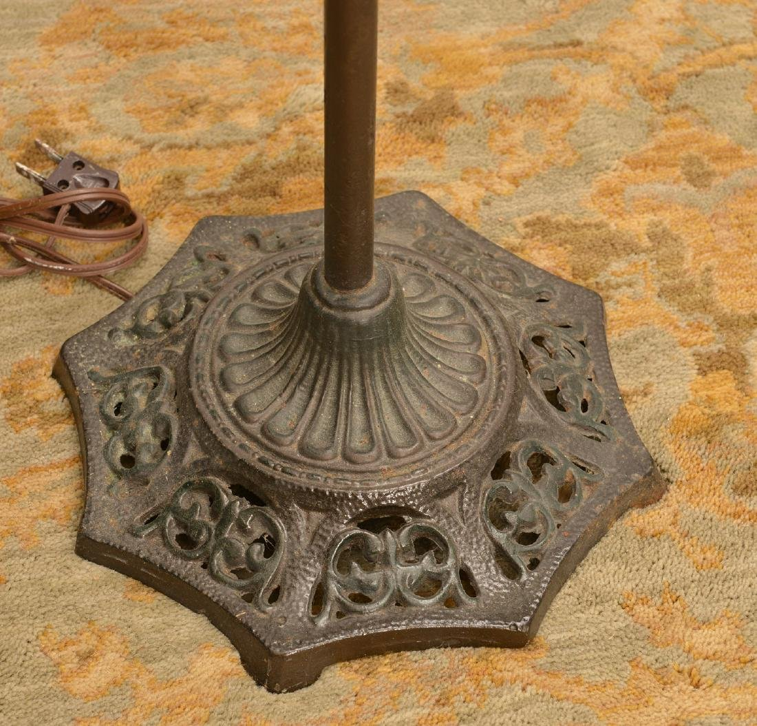 (2) cast iron floor lamps with mica shades - 4