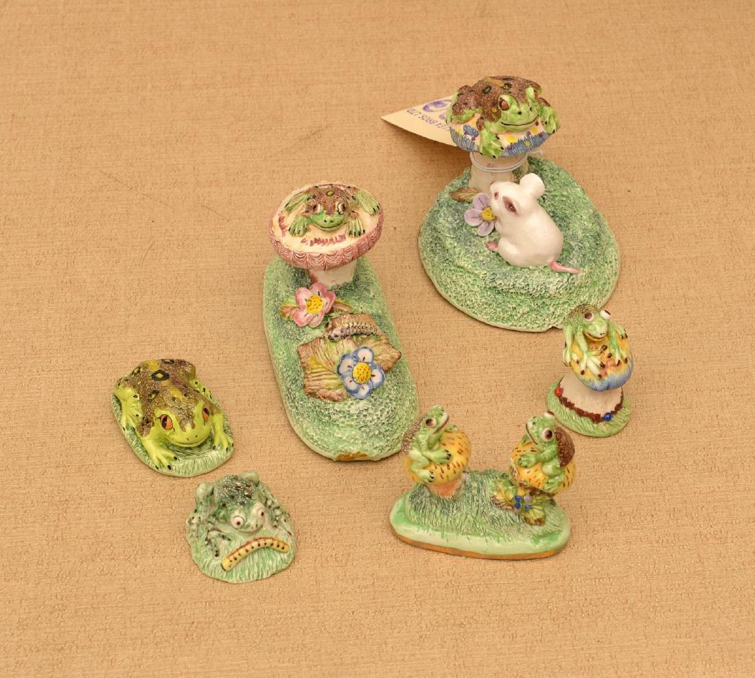 (6) Basil Matthews miniature porcelain frogs
