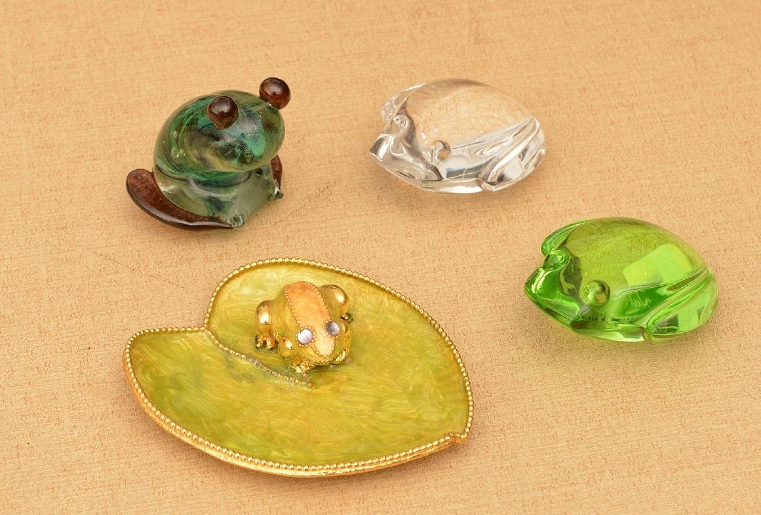(4) Studio glass and enameled frogs