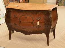 Louis XV style parquetry marble top bombe commode