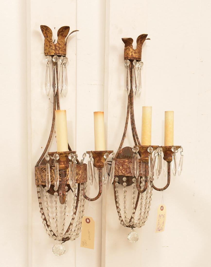 Pair Niermann Weeks gilt metal candle sconces