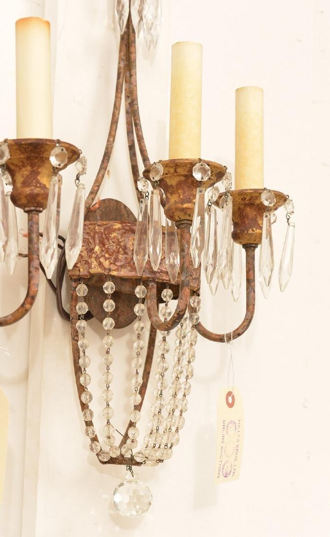 Pair Niermann Weeks gilt metal candle sconces - 2