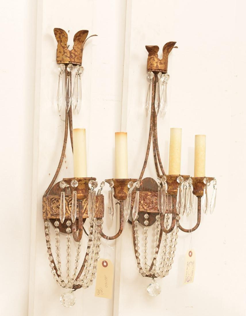 Pair Niermann Weeks gilt metal candle sconces - 3