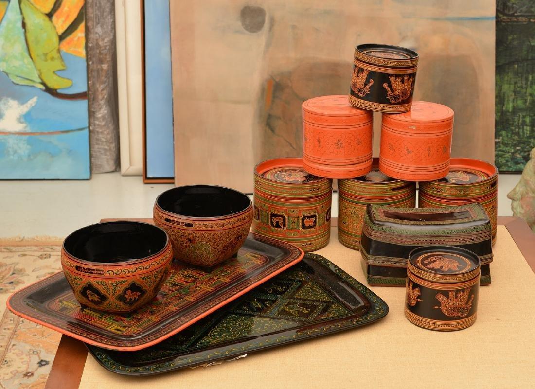 (11) pieces Tibetan lacquerware