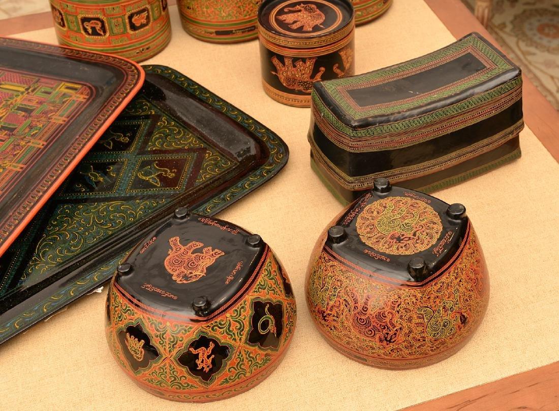 (11) pieces Tibetan lacquerware - 2