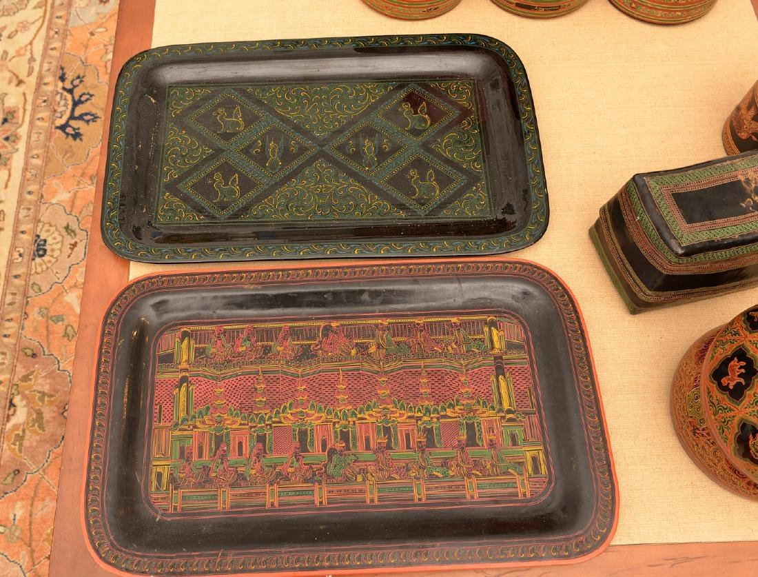 (11) pieces Tibetan lacquerware - 3