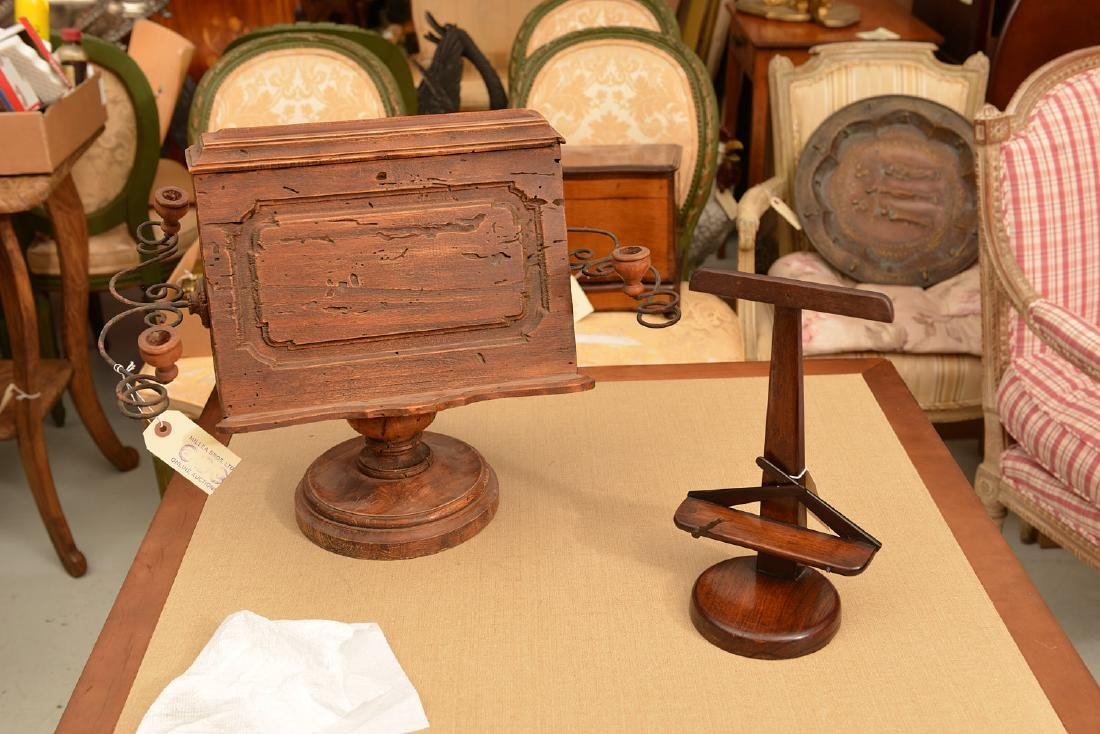 (2) antique tabletop book stands