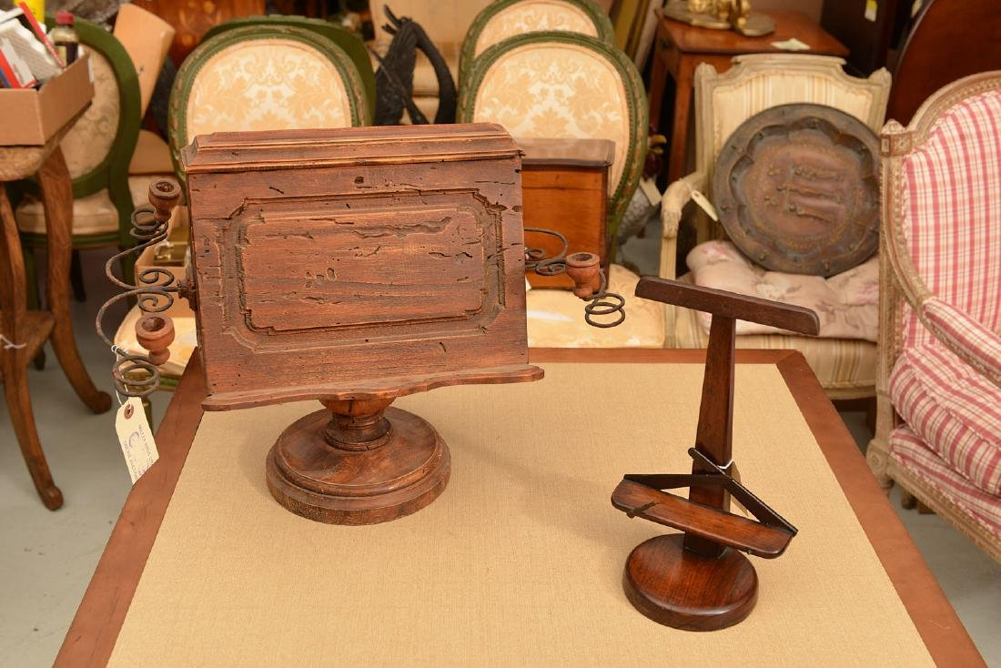 (2) antique tabletop book stands - 2