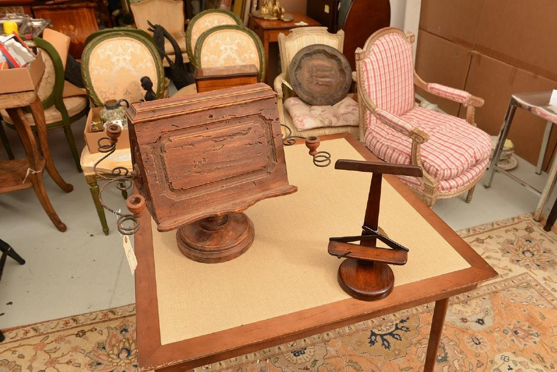 (2) antique tabletop book stands - 3