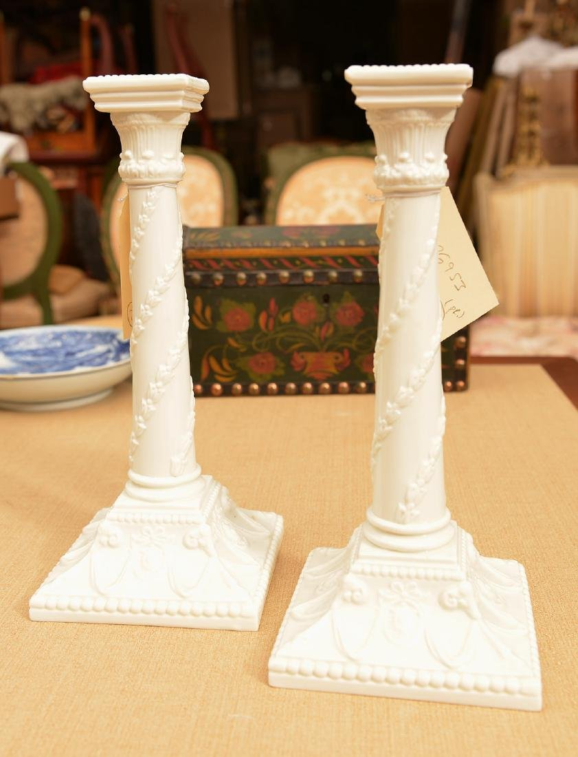 Pair Royal Worcester porcelain candlesticks