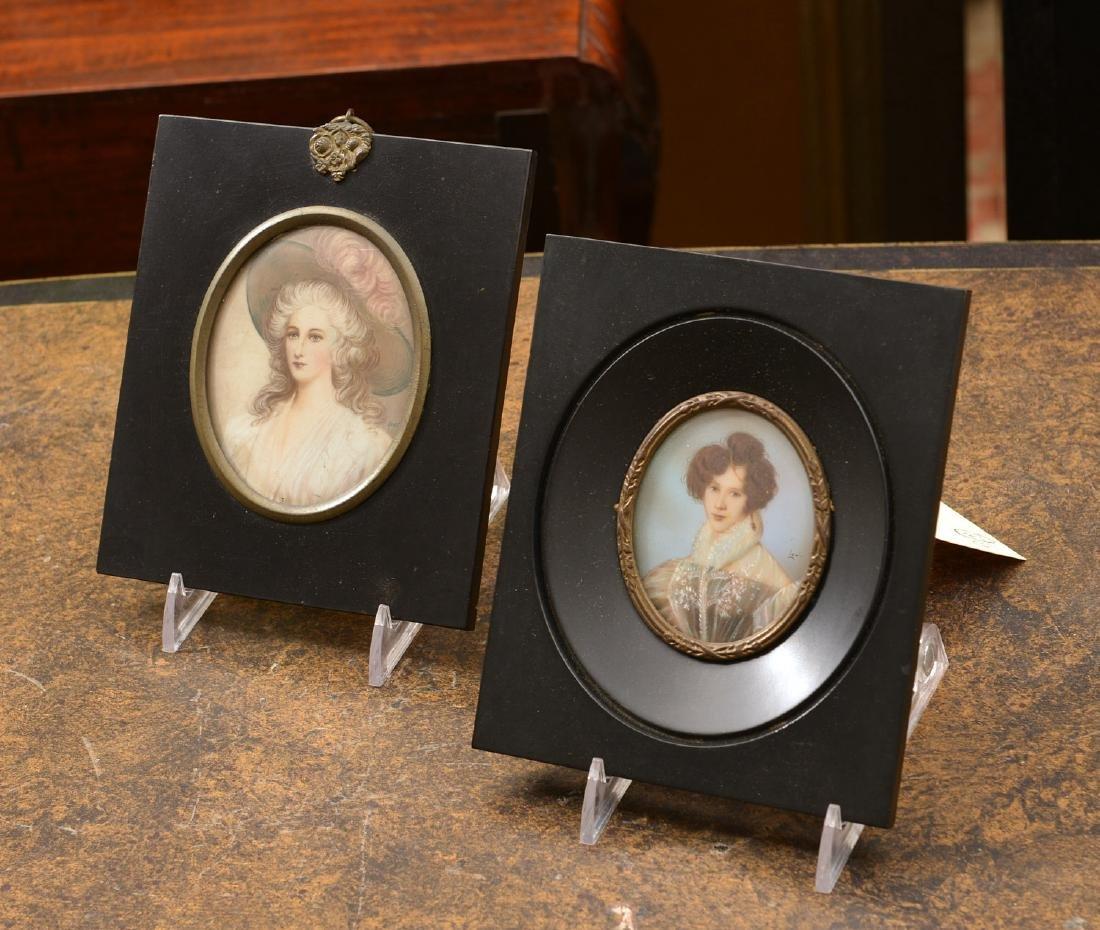 (2) Continental painted portrait miniatures