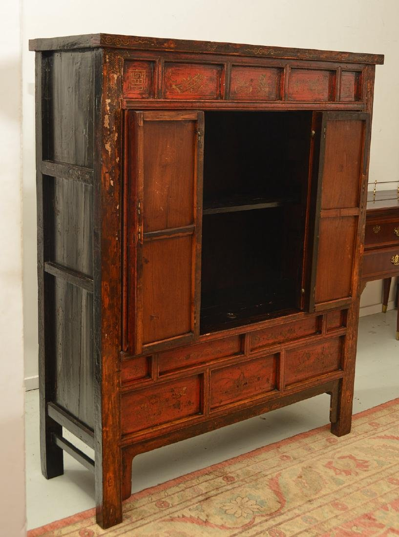 Chinese parcel gilt red lacquer cabinet - 4