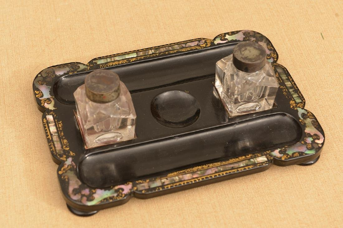 Victorian papier mache, mother-of-pearl inkwell