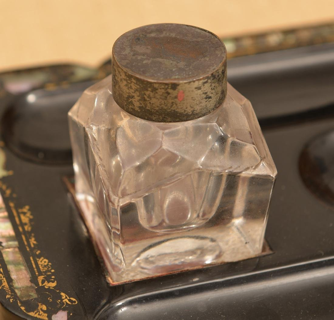 Victorian papier mache, mother-of-pearl inkwell - 2